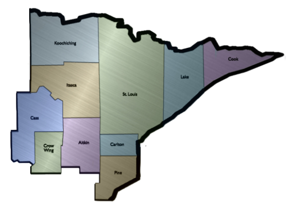 map of ten counties that CILNM serves